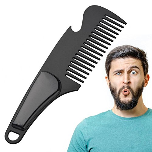 Beard Comb, Men Mini Anti-static Grooming Comb Portable Stainless Steel Mustache Comb Bottle Opener, Mustache Shaper and Styling Tools Beard Shaping Template(Black)