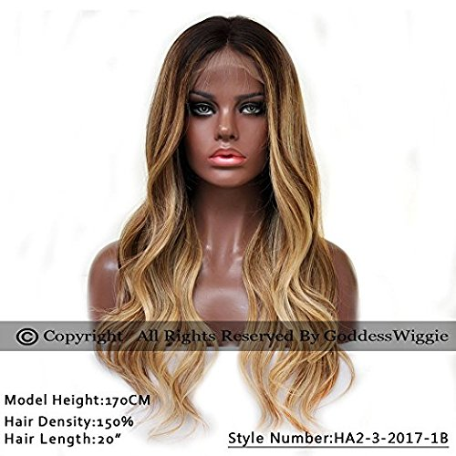 Balayage Highlight Blonde Human Remi Curly Hair Wig With Baby Hair Ombre Full Lace Wigs (20inch 180%) by Goddess