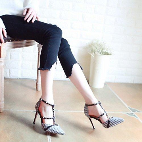 Heigezi Fin Chaussures De Chaussures Printemps Chaussures ZHUDJ Rivet Superficiellement Superficiellement zwgqxddI