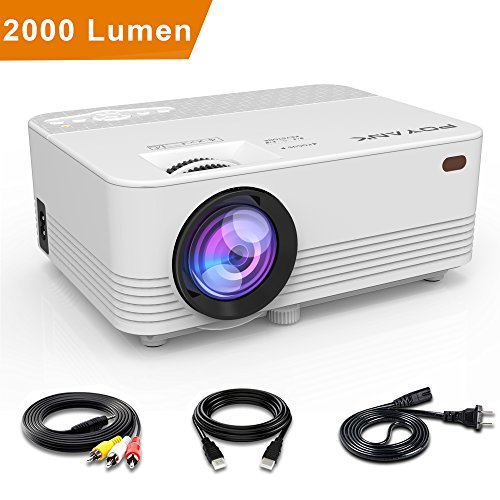 POYANK 2000 Lumens Mini Projector- 50,000 Hours LED Projector, HDMI/VGA/AV/USB/SD/PS4/XBOX/TV BOX/Roku Stick/Chromecast/Fire TV Stick/iPhone/iPad/Android/Laptop/DVD/External Speaker Supported, Full HD (External Ir Leds)