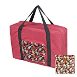 Bargoos Travel Duffle Bag Lightweight Waterproof Large Capacity Floral Print Luggage Foldable Organizer Bag Tote for Airlines Personal Item Shoulder Handbag (Chamomile, One_Size)