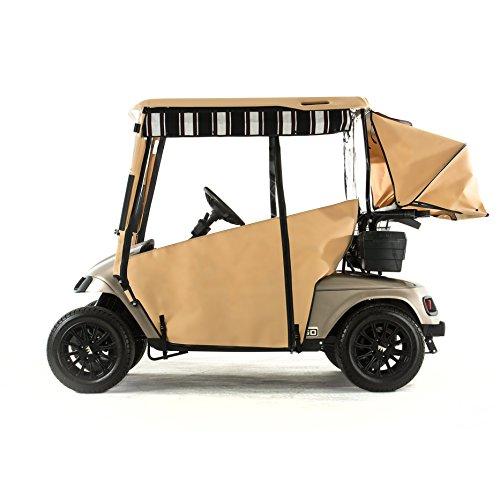 (EZGO TXT Golf Cart PRO-TOURING Sunbrella Track Enclosure - Linen-HR)