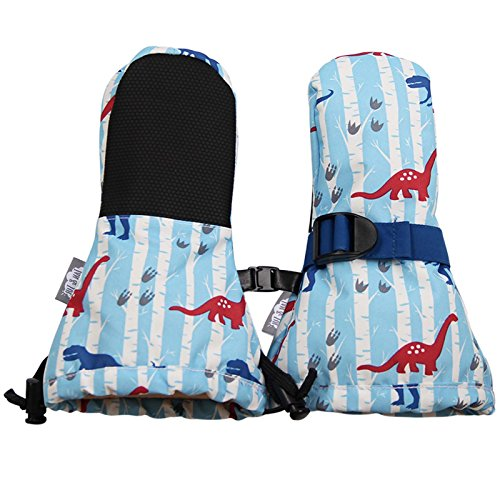 Waterproof Stay-on Winter Snow and Ski Mittens Fleece-Lined for Baby Toddler Girls and Boys (XS: 0-2Y, Snow Mitten: Dinosaur)