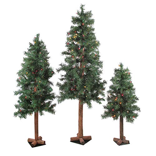 Northlight Set of 3 Pre-Lit Woodland Alpine Artificial Christmas Trees 3', 4' and 5' - Multi-Color Lights