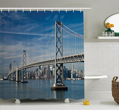 Ambesonne Apartment Decor Collection, San Francisco Bay Bridge in the Morning Historic City Structure Panoramic Picture Print, Polyester Fabric Bathroom Shower Curtain, 84 Inches Extra Long, Blue - Plaza Tower Chicago Water