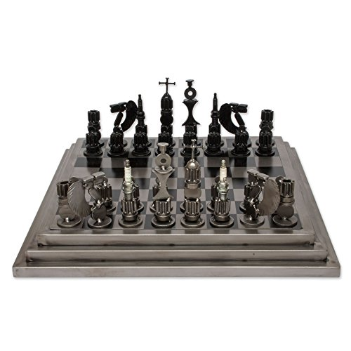 NOVICA Recycled Metal Steel Rustic Warriors Upcycled auto Part Chess Set