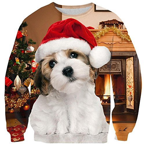 Leapparel Womens Christmas Cute Dog Sweatshirt 3D print Santa Crewneck Pullover Sweater, Xmas Dog, US XS/Asian Tag S