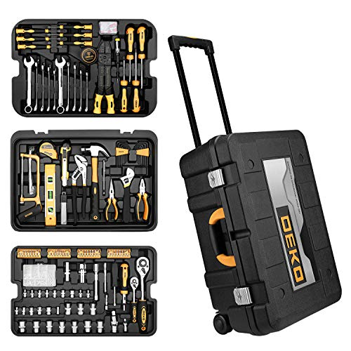 DEKOPRO 258 Piece Tool Kit with Rolling Tool Box Socket Wrench Hand Tool Set Mechanic Case Trolley Portable ()