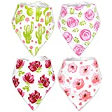 Stadela Baby Adjustable Bandana Drool Bibs for Drooling and Teething Nursery Burp Cloths 4 Pack Baby Shower Gift Set for Girls – In Bloom with Cactus Floral Western Desert Flowers Southwest