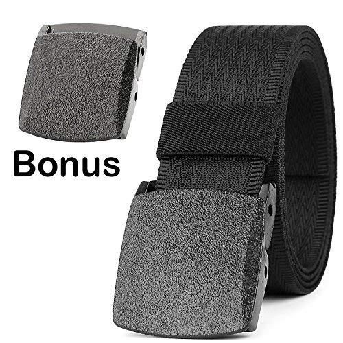 JASGOOD Unisex Nickel Free Belt 1.5 In Nylon Adjustable Web Belt with Plastic ()