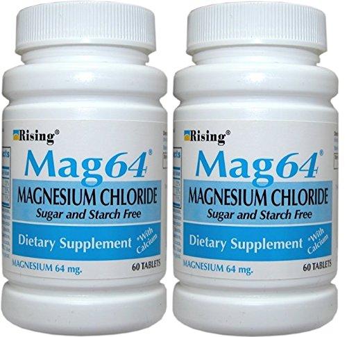Rising Mag64 Magnesium Chloride with Calcium Tablets 60 ea (Pack of 2) (Magnesium Chloride Tablets)