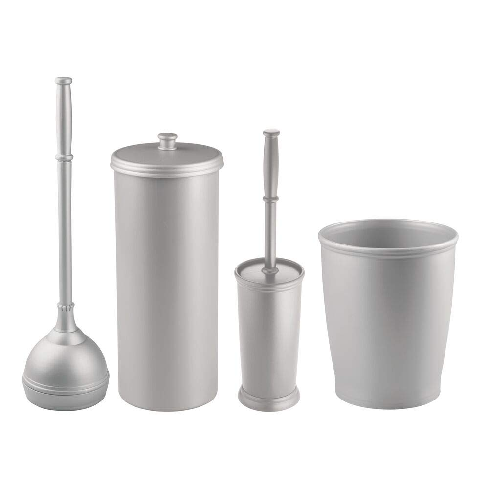 mDesign Modern Plastic Bathroom Storage and Cleaning Accessory Set - Includes Toilet Plunger, Bowl Brush, 3-Roll Toilet Paper Canister with Lid, Wastebasket Trash Can/Garbage Bin - 4 Pieces - Silver