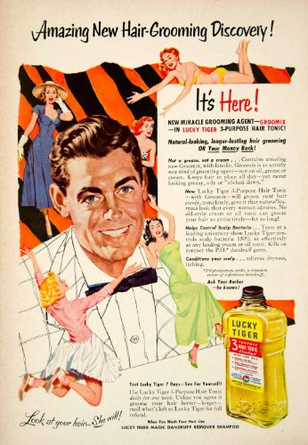 1953 Ad Lucky Tiger Magic Dandruff Shampoo Hair Tonic Health Beauty Grooming - Original Print Ad from PeriodPaper LLC-Collectible Original Print Archive