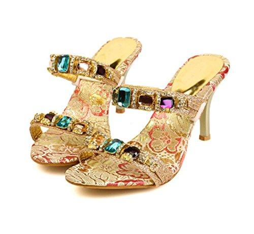 Et Wsk Pantoufles Pour Strass En Gold Femmes Cuir Talons Avec Couleur Princesse Chaussures Sandales Chaînes Double À Hauts UrF6fUq