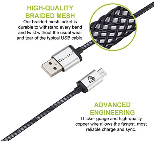 DLUX Micro USB Cable, 2 Pack 6.6ft (2M) Extra Long Mesh Braided High Speed 2.0 USB To Micro USB Fast Charger Cables Android Charger Cord For Samsung Galaxy S7 Edge/S6/S5/S4,Note 5/4/3,LG,HTC,Tablet at Electronic-Readers.com