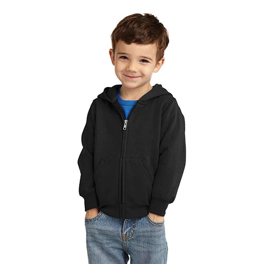 FeiliandaJJ Kid Hooded Sweatshirts, Children Baby Boy Girl Casual Soild Color Warm Hoodie Zip Long Sleeve Coat Top 1-6 Years