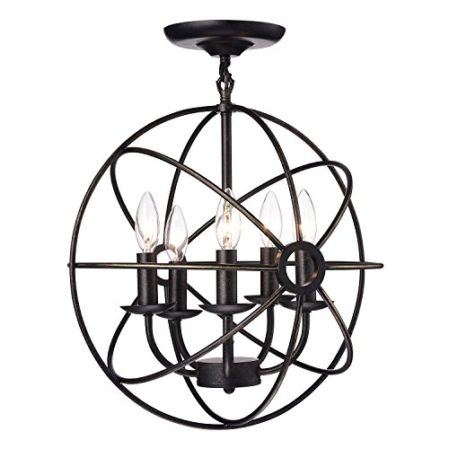 Edvivi Dover 5-Light Antique Bronze Sphere Orb Cage Globe Semi Flush Mount Chandelier | Modern Farmhouse Lighting