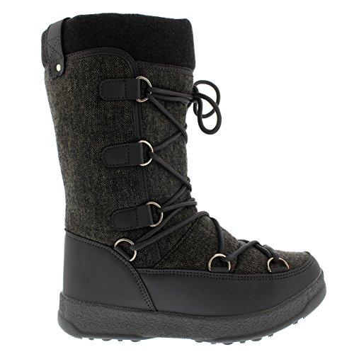 Polar Fleece-Thermo-wasserdichte Winter-dauerhafte Schnee-Knie-Stiefel der Produkt-Frauen Graues Textil