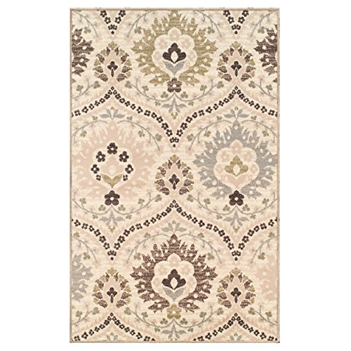 Superior Designer Augusta Collection Area Rug, 8mm Pile Height with Jute Backing, Beautiful Floral Scalloped Pattern, Anti-Static, Water-Repellent Rugs - Beige, 8' x 10' Rug from Superior