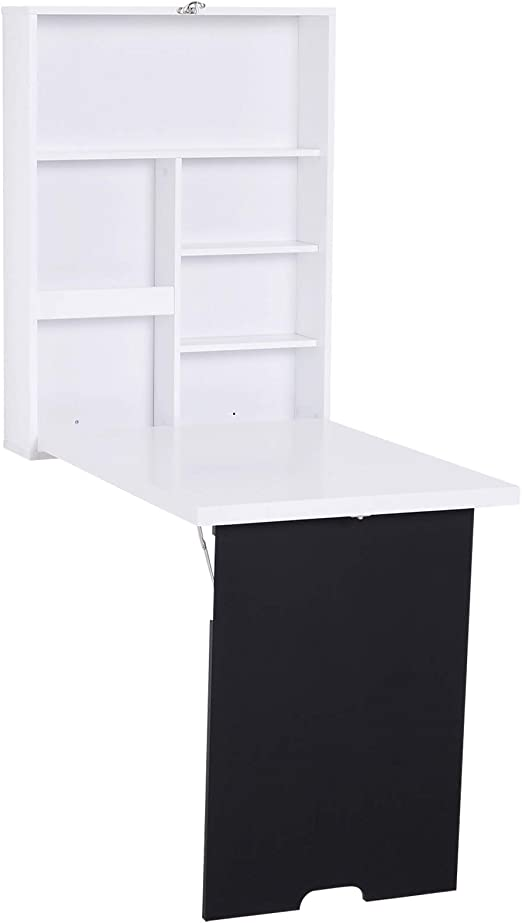 HOMCOM Mesa Plegable en Pared Escritorio Fijado en Pared con ...