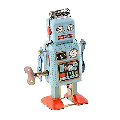 Soledi Funny Dark & Green Clockwork Spring Wind Up Metal Walking Robot Retro Vintage Mechanical Kids Children Toy Gift from Soledi