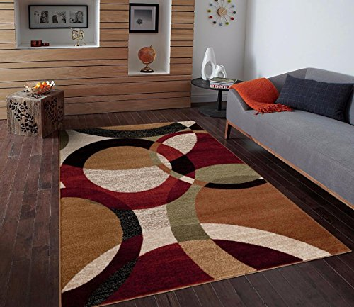 T1011 Black Cream Green 5x7 Rust Burgundy Abstract Area Rug Carpet Rust Cream
