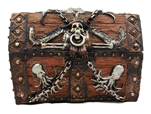 Atlantic Collectibles Caribbean Kraken Octopus Pirate Haunted Chained Skull Treasure Chest Box Jewelry Box Figurine 5''L by Ebros Gift (Image #4)