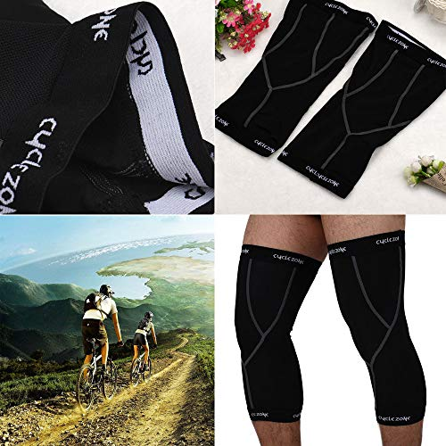 Glumes Sports Knee Support Sleeves Knee Brace (Pair) for Men & Women Joint Pain & Arthritis Relief, Improved Circulation Compression Effective Support Running Jogging Workout Walking (M, Black)
