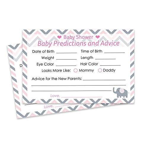 Pink and Gray Elephant Baby Girl Shower Advice and Prediction Cards (Set of 20) (Pink Gray Elephant Baby Shower)