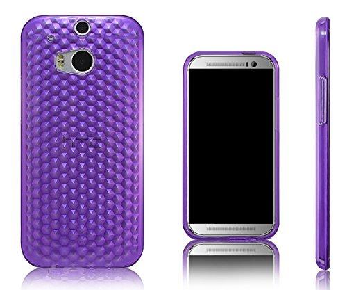 Xcessor Diamond - Flexible TPU Gel Case For HTC One M8 (New M8 Model). Purple/Transparent (Htc New Model)