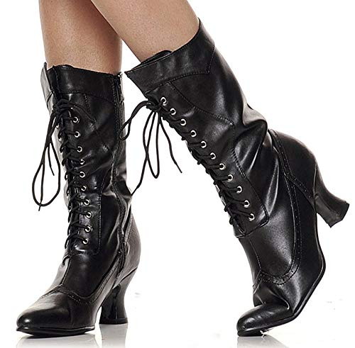 Boots Victorian Womens Pu - Ellie Shoes Women's 2.5 Inch Victorian Boot (Black PU;8)