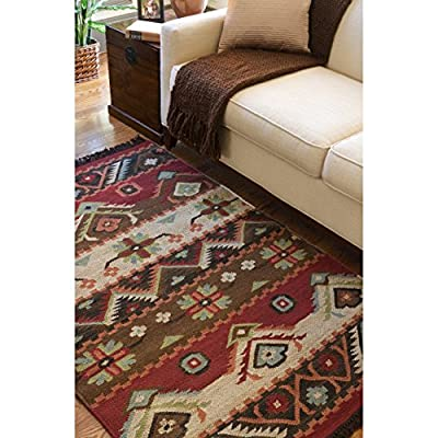 Hand-woven Red/Tan Southwestern Aztec Louise Rectangular Wool Flatweave Rug (5' x 8')