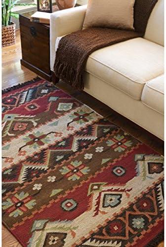 Handwoven Southwestern Red Tan Rectangular Wool Rug 5 X 8 Furniture Decor