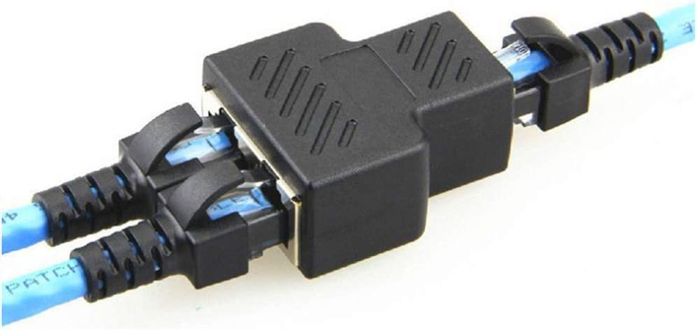 Cat7 JJDD RJ45 Ethernet Splitter Adapter Female 1 to 2 Port Female Socket Ethernet Cable Adapter LAN Network Connector for Cat5e Cat6