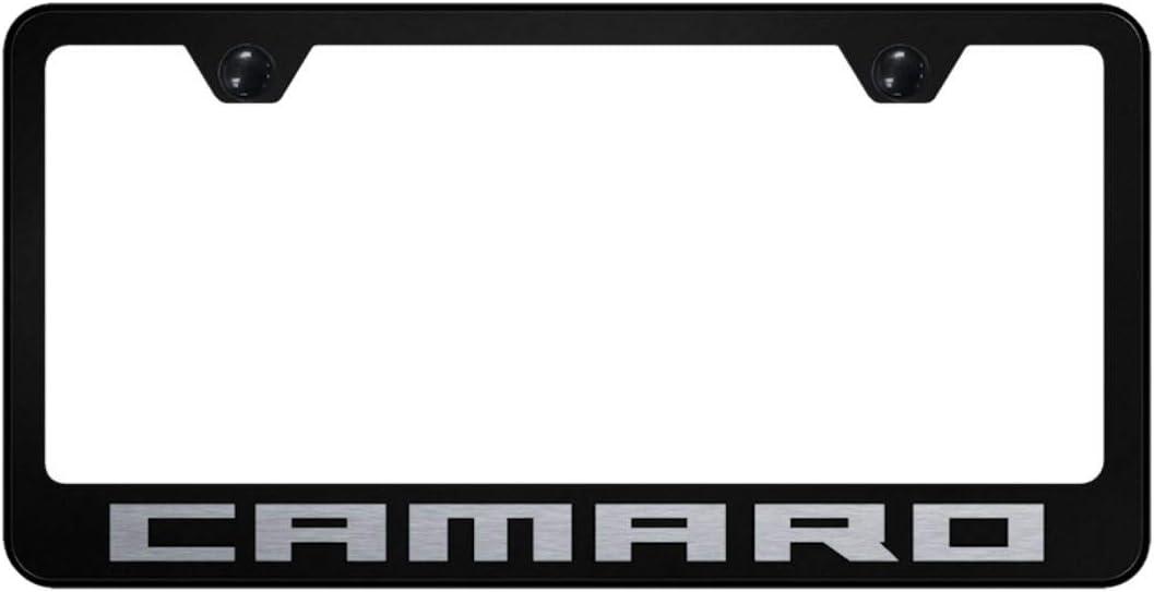 Au-Tomotive Gold, INC. Chevy Camaro License Plate Frame Black Powder Steel Laser Etched Metal z28 RS SS