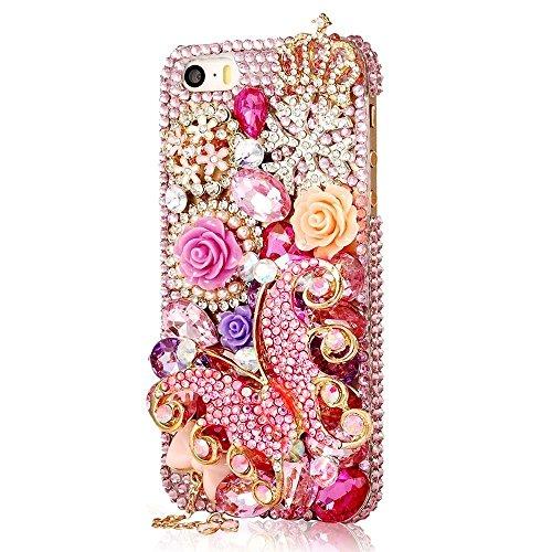 """EVTECH (TM) Coque 3D Bling Strass Case Transparent Back Cover Cristal Etui Housse Hard Coque pour iPhone 6 5.5"""" (2014)"""