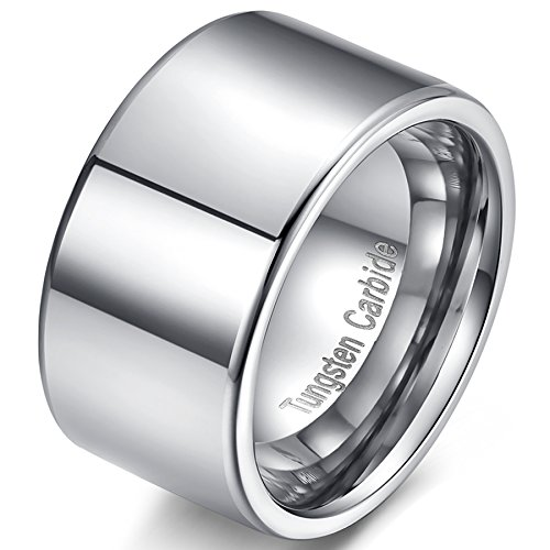 [Mens 12mm Silver Tungsten Carbide Simple Style Big Cool Wedding Ring Engagement Band Polished Flat Top Size 13] (12mm Band Ring)
