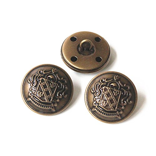 YaHoGa 10pcs Antique Metal Buttons With Shank 1 inch 25mm For Blazers,Suits,Jackets (Antique Brass)