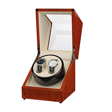 PiaWatch Reloj Winder Hecho a Mano de Madera de Nuez Reloj Puede acomodar 2 Relojes Tiene