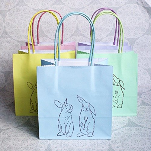 Pastel coloured Bunny Rabbit print gift bag set of 5
