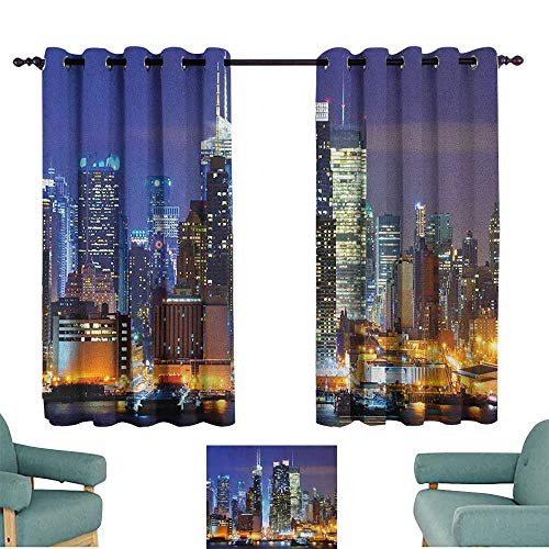 (WinfreyDecor United States Novel Curtains Manhattan View from Hudson River at Night Luminous Landscape Privacy Protection 63