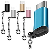 5 Pack USB Type C Adapter with 5 Colors, AFUNTA USB C to Micro USB Convert Connector Fast Charger with Keychain for Samsung Galaxy S8 New Macbook Pixel XL Nexus 5X 6P
