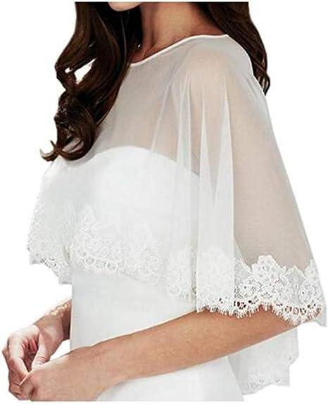 Meibida Scialle in tulle di pizzo avvolto nello scialle della giacca da sposa della sposa