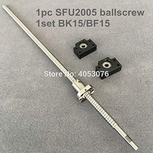 Ochoos SFU/RM 2005 Ballscrew - L 650 700 750 800 850 900 1000mm with end machined + 2005 Ballnut + BK/BF15 End Support for CNC - (Guide Length: ()