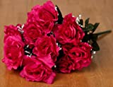 """Package of 3 - 19"""" Magenta Silk Open Rose Floral Bushes with Baby's Breath - 12 Large Blooms Per Bush!"""