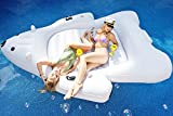 Giant Polar Bear Pool Float | Swim Lounger | Floating Island Raft with Cupholders by Captain Floaty - For Kids and Adults (Up to 4 People!)