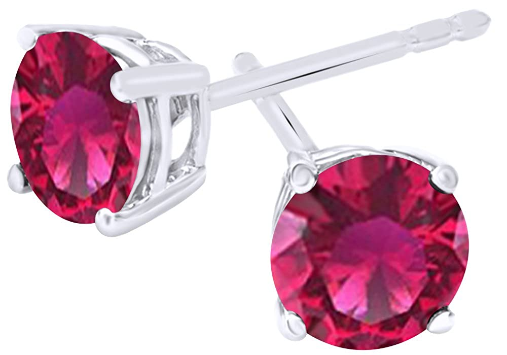 Round Cut Simulated Ruby Stud Earrings in 14k White Gold Over Sterling Silver 5.5 Cttw