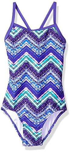 Kanu Surf Big Girls' Kirsten Chevron Beach Sport Banded 1-Piece Swimsuit, Purple, 12