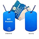 HIV Medical Alert ID Dog Tag Pendant in Anodized