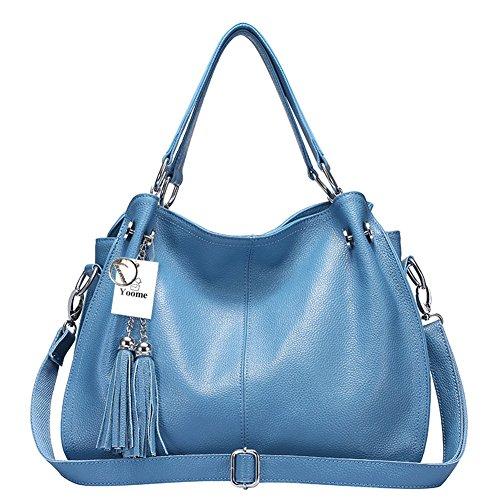Women's Tassel Bag Vintage Blue Leather Cowhide Shoulder Yoome Handbag Fashion Bag PaX77Iq